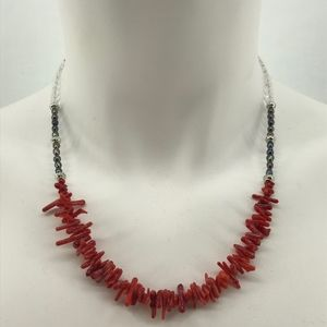 Handmade Necklace Red Coral Beads and Gray Pearls